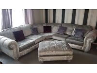 Stunning silver crushed velvet quantas corner sofa in immaculate condition will seat at least 6