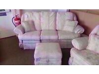 GREAT CONDITION! white/cream fabric reclining 3 seater , 2 seater