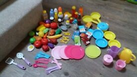 Toy food, utensils, pots and pans