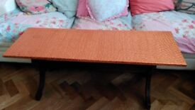 Copper Topped Coffee Table with Wooden Pub Bench Style Legs. Man Cave?