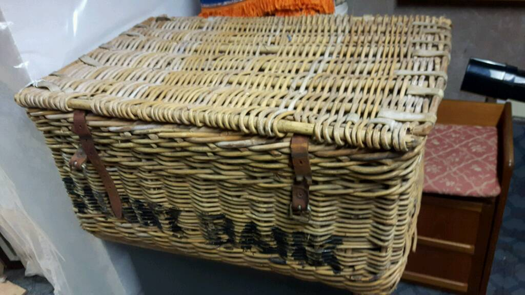 Vintage Wicker Laundry or Stage Basket