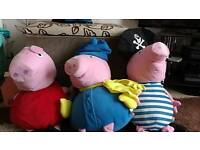 Three big pepper pig teddys