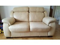 LEATHER 2 SEATER SOFA - Beige, Very Good Condition - sale due to house move.