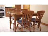 Pine Kitchen Table and 4 matching chairs