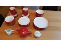 37 Piece Hamilton Marks and Spencer's Dinner Set, Teapot and Cups Red Excellent Condition