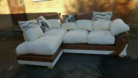 Amazing BRAND NEW brown leather and light beige cord corner sofa .can deliver