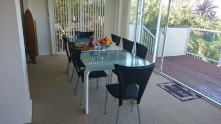 Large Eight Or Six Seater Glass Dining Table And Chairs For Sale
