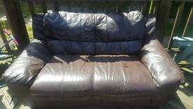 Brown faux leather 2 seater sofa