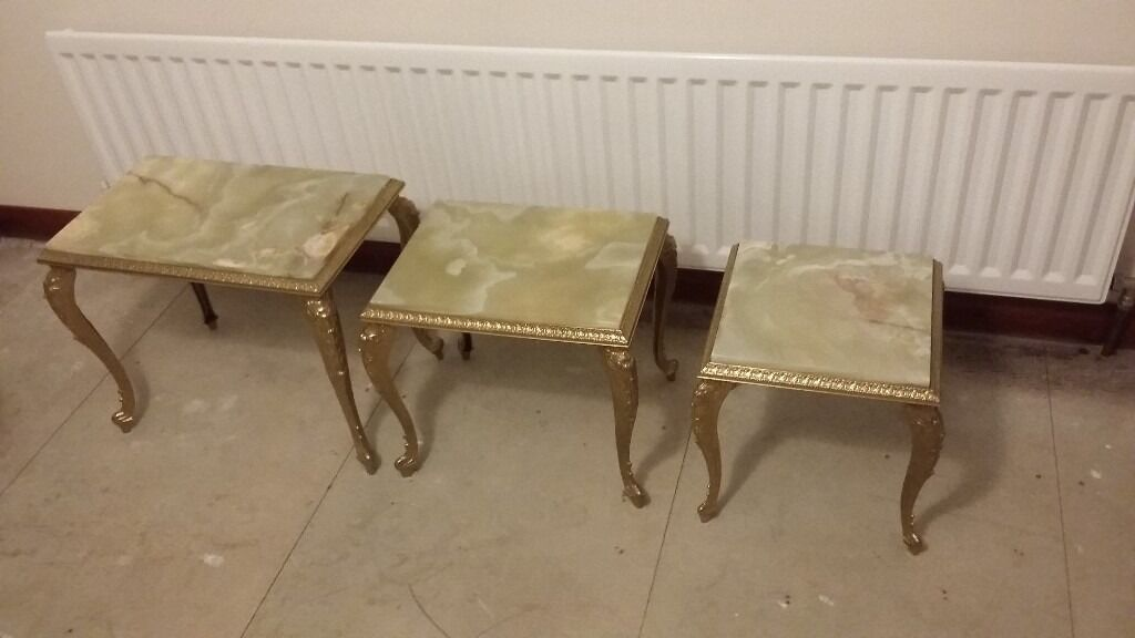 Vintage Green Onyx Marble Nest Of Tables