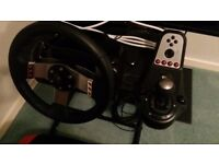 Logitech g27 steering wheel, shifter and pedals