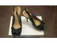 Ladies black sling back open toe shoes NEW