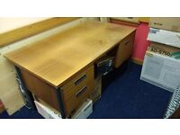 Office/Workshop Desk - Double Pedestal and Side Table