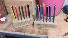 Wooden block crayon holder