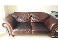 Large Brown Leather Sofa For Sale £60 ono