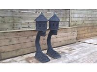 Large Pair of Oriental Type Garden Ornaments on Stands - Japanese - Thai - Chinese Rare Design - £50