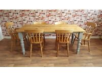 Extendable Rustic Farmhouse Turned Leg Dining Set - Seats up to Twelve People - Benches and Chairs