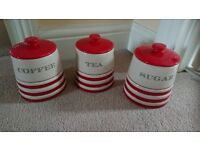 tea coffee and sugar canisters, brand new from next