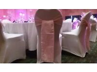 75p chair covers with sashes, £6 martini glass, £9 candelabra, one free centrepiece, hire