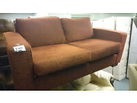 2 seat sofa bed material burnt orange colour modern