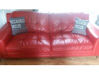 DFS enzo red leather 3seater 2 seater and armchair in great condition