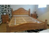 Wooden King size bed.2× bed side cabinets. Dresser and mirror