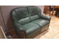 Green Leather Sofa & Armchair