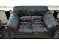 Black Leather 2-Seater Sofa - VGC