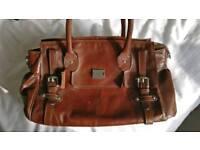 Large brown leather handbag