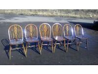 Vintage Windsor Ercol styled oak dining chairs