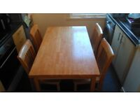 SOLID WOOD TABLE & 4 CHAIRS. ALL IN GOOD CONDITION. STILL SEE THIS. ITS STILL AVAILABLE