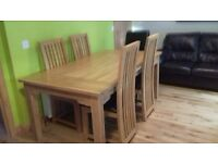 Celebrations of Turriff solid oak dining set £400 - DFS brown leather 3 seater sofa - both vgc