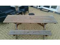 Pub style bench garden tables