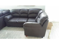 NEW Graded Brown Leather Corner Sofa Suite FREE LOCAL DELIVERY