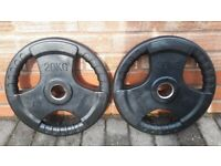 BODYMAX 2 x 20KG RUBBER OLYMPIC WEIGHT PLATES - 2 Inch Holes