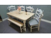 Newly Refurbished Shabby Chic Table/Bench Set