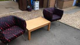 Coffee table and tub chairs