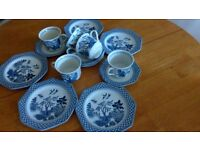 blue and white print,cups saucers and side plates.