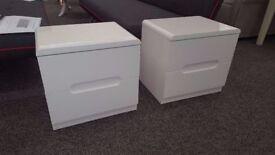 2x Julian Bowen Manhattan White High Gloss 2 Drawer Bedside Tables Can Deliver View Hucknall Nottm