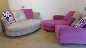 DFS round cuddly chair and corner sofa