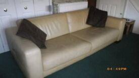 Cream leather box style sofa