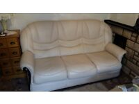 Leather 3 or 4 piece suite Cream