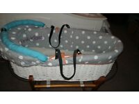 Perfect white wicker moses basket