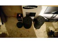 Dumbbell set with barbell bar