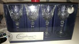 4 red wine crystal glasses