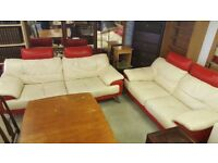 Modern Cream & Red Leather 3 Seat & 2 Seat Sofas