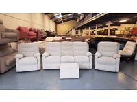 Ashton dove grey pattern fabric recliner 3 seater sofa and 2 chairs and puffee