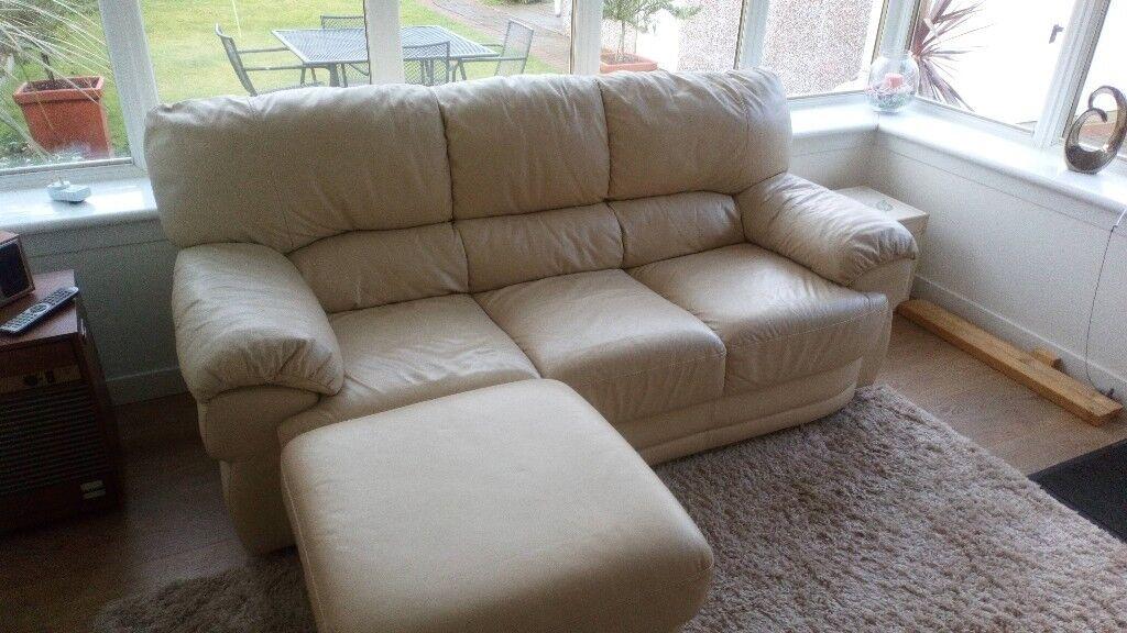 Cream Leather Sofa & Pouffe