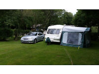 2 berth touring caravan , good condition , large and small awnings ,motormover, everything works