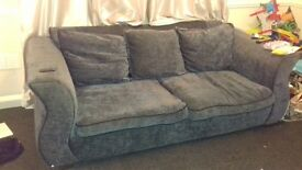 Grey 3 seater sofa and arm chair