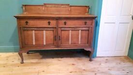 Vintage EDWARDIAN antique sideboard drawers cupboards rustic wax Queen Anne legs